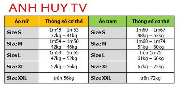 chọn size áo thun tại đồng phục đà nẵng Anh Huy TV