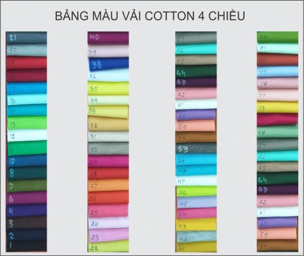 BẢNG MÀU VẢI COTTON chuyên dùng để may áo Cổ Tròn 0935447749 Xuân Diễm
