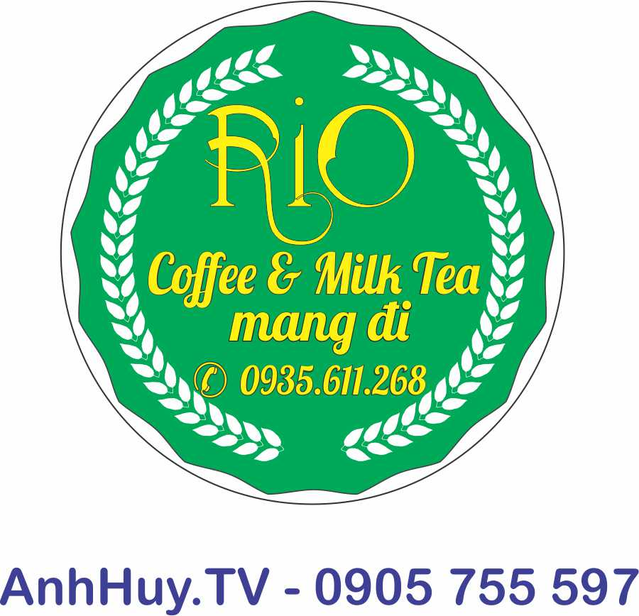 In Decal Đà Nẵng Logo Rio Coffee and Milk Ted