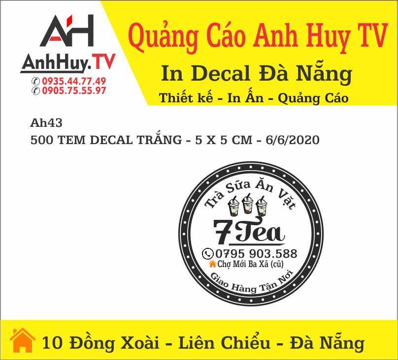 In Decal Trà Sữa Ăn Vặt Tem Nhãn logo 7 Tea AH43